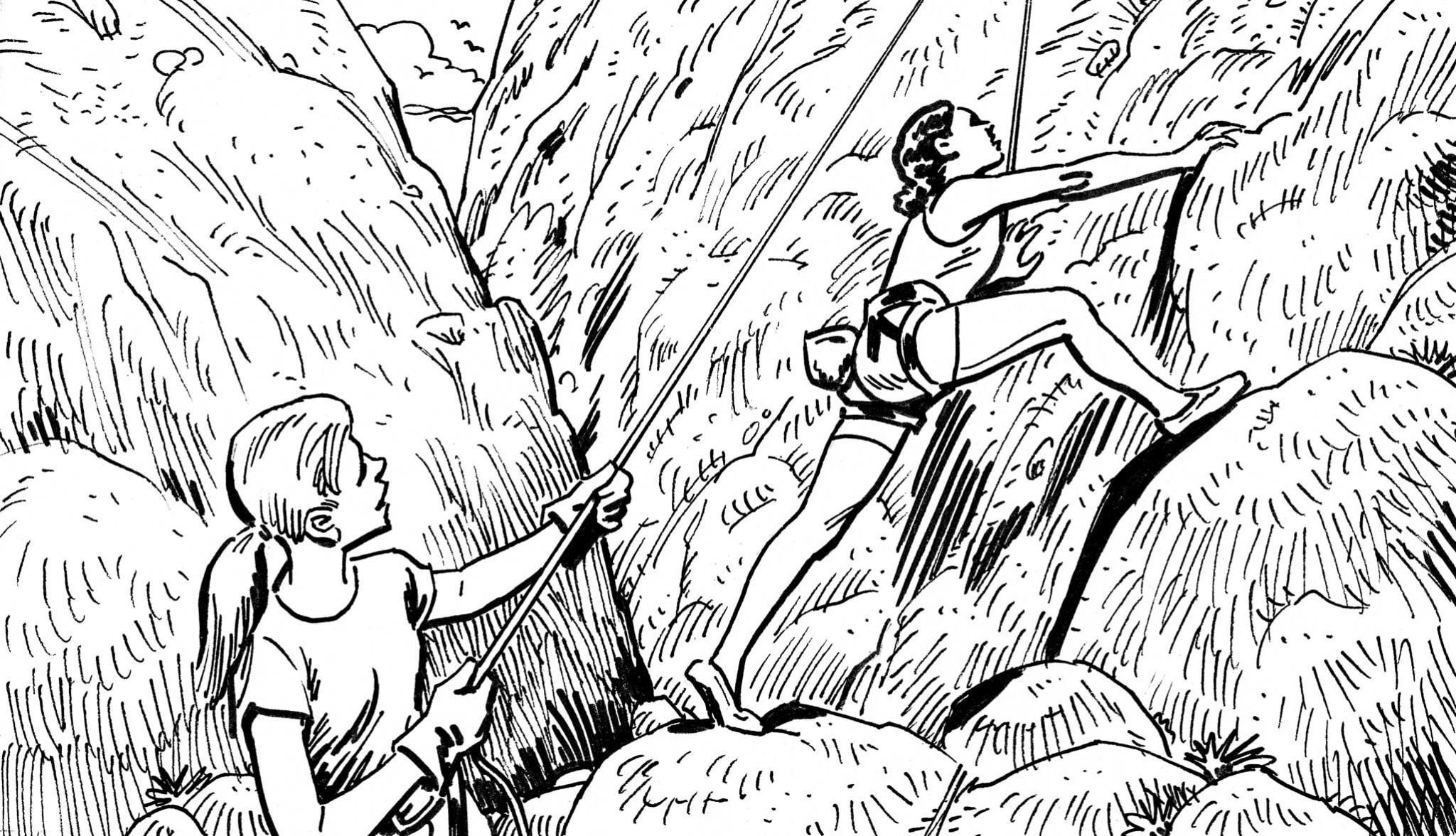 KH3037C-young-women-rock-climbing
