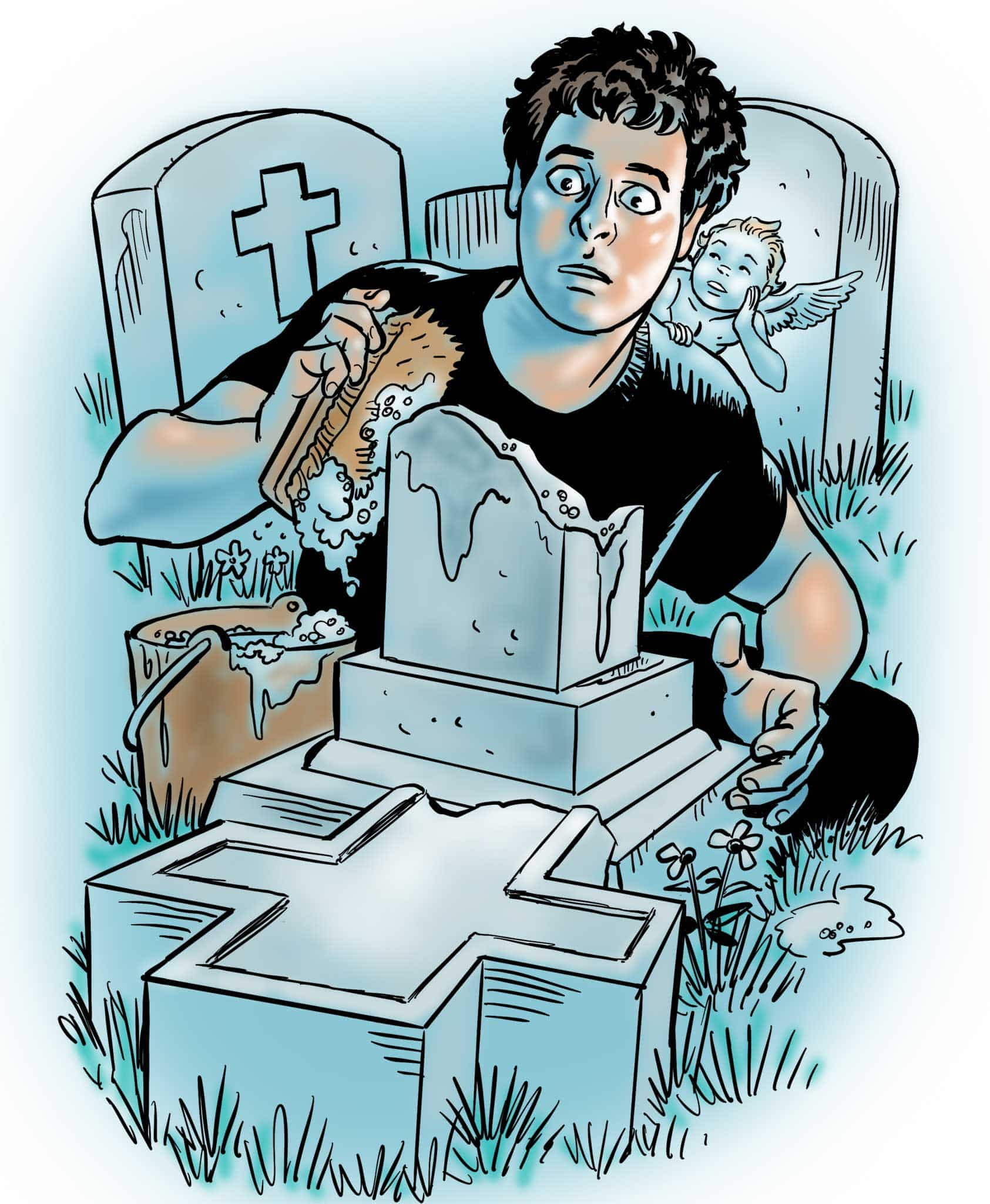 KH3529C-cleaning-tombstone-graveyard
